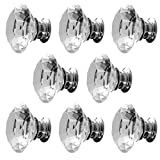 WMicroUK Top Quality 8 X LS-D3020 40MM Clear Crystal Glass Diamond Cut Door Knobs Kitchen Cabinet Drawer knobs+Screw Home Decorating by WMicroUK