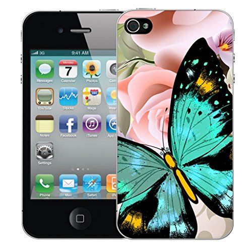 Nouveau iPhone 4s clip on Dur Coque couverture case cover Pare-chocs - humingbird vert Motif avec Stylet heavenly butterfly