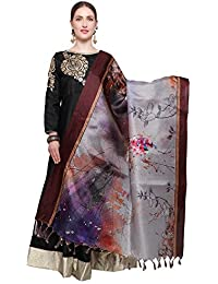 Mrinalika Fashion Cotton Silk Digital Print Dupatta (Dupattas For Womens _Salwar Suit Dgdpt15_Grey_Free Size)