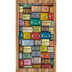 ABAKUHAUS Ancien Tapis Tissé à Plat, Voyage Valise Couleur, Salle de Séjour Chambre à Coucher Salle à Manger, 80 x 150 cm, Multicolore
