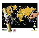 Global Walkabout Scratch Off Carte du Monde avec Drapeaux Fond-Deluxe Mini Format Voyage Carte du Monde Poster-Pays et générale-Cadeau de Voyage...
