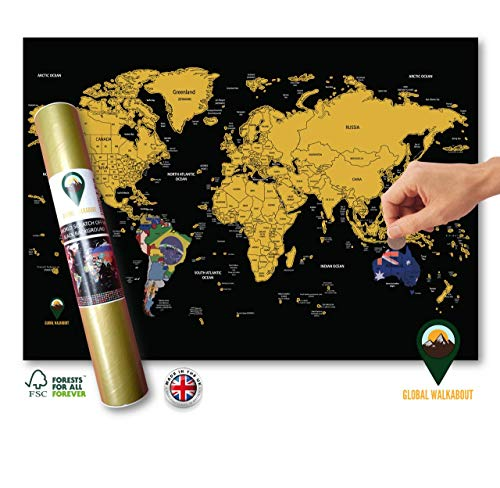 Póster mapamundi banderas mundo marca Global Walkabout