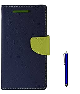 TBZ Diary Wallet Flip Cover Case for Lenovo K8 Plus with Stylus -Blue-Green