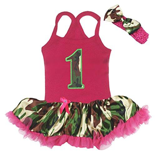 Petitebelle Birthday Dress Camo 1st Halter Neck Bodysuit Camouflage Tutu Nb-24m (12-24 (Tutu Baby Camo)
