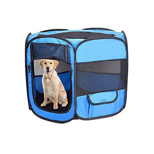 Aolvo Laufgitter für Hunde-, Outdoor, tragbar, faltbar für Haustiere, Hunde-Laufstall, Stifte Kisten Kennel, Premium-600d-Oxford-Gewebe, Reißverschluss, atmungsaktiv, mit Taschen für Haustiere. (Laufstall Haustier Outdoor)