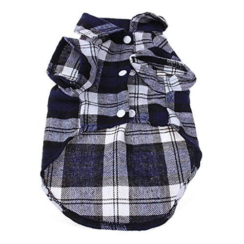 Formulaone Moda de Tela Escocesa para Mascotas Camisa de Verano para Perros Camisa Casual para Perros Ropa para Perros Trajes de Cachorros Ropa para Mascotas para Perros pequeños - Azul L