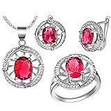 AnazoZ Schmuckset für Damen Kirstallanhänger Zirkonia Halskette, Ohrringe, Verlobungsringe für Hochzeit - Rot Größe 52 (16.6)