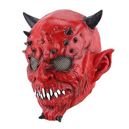 Halloween Latex Maske Gruselig Rotes Horn Monster 3D Neuheit Beängstigend Teufel Kostüm Partei Cosplay Requisiten Rollenspiel Spielzeug