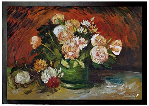 Vincent Van Gogh - Bowl With Peonies And Roses, 1886 Felpudo Alfombrilla (70 x 50cm)