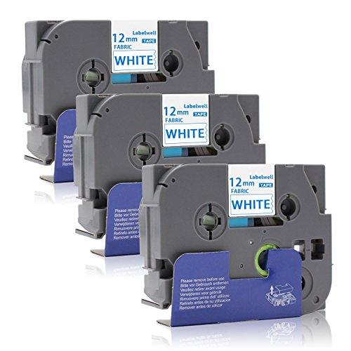 Labelwell TZe-FA3 P-touch Textil-Aufbügelband TZeFA3 TZFA3 0.47 12mm x 3m für Brother P-Touch H105 1010 D400 1000 1280 H100LB E100 H105WB D400VP D200BW E100VP Beschriftungsgerät, Blau auf Weiß, 3-Pack -