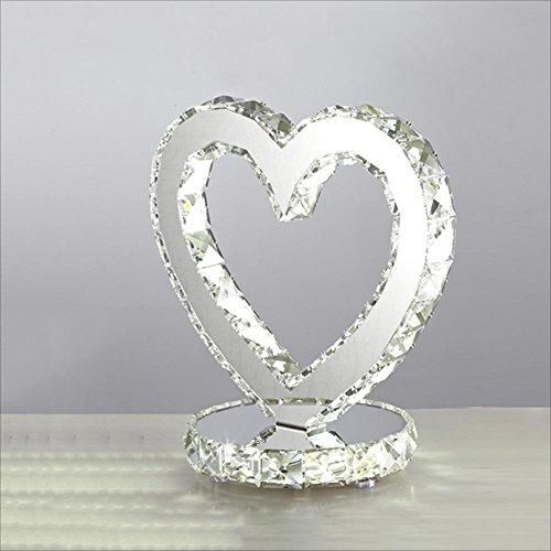 LILY LED Kristall Doppel Ring Licht Tischlampe, Edelstahl Spiegel Mode Hochzeit Tischlampe, Dimmbare Geschenk Lampe