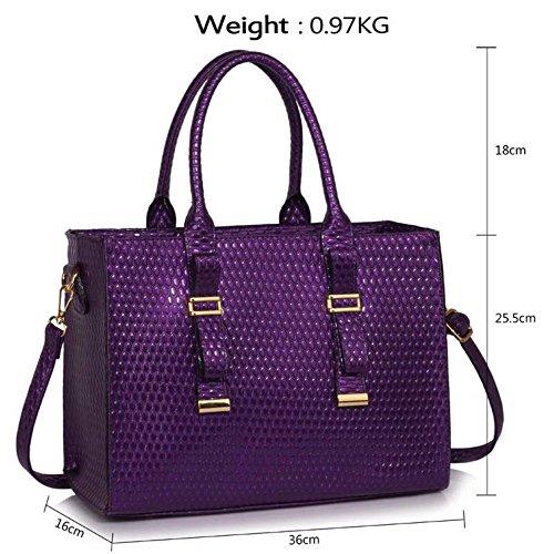 LeahWard® Groß Große Größe Damen Patent Tragetaschen Damen Mode Essener Schultertasche Handtaschen 310 Lila