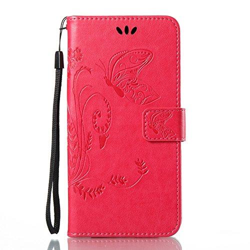 EKINHUI Case Cover Horizontale Folio Flip Stand Muster PU Leder Geldbörse Tasche Tasche mit geprägten Blumen & Lanyard & Card Slots für Samsung Galaxy J7 2017 European Edition ( Color : Black ) Rose