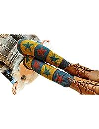 Butterme Ladies Girls Calcetines Hasta La Rodilla de Invierno Knit Crochet Warm Leg Warmer(Amarillo)