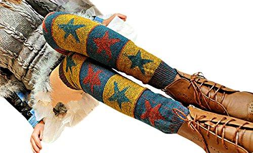 Butterme Bein Wärmer Stern gedruckter Winter Frauen Boho strickte Häkelarbeit Knie hohe lange Socken Aufladungs Stulpe Socken (Gelb) (Stretch-knit-bein-wärmer)