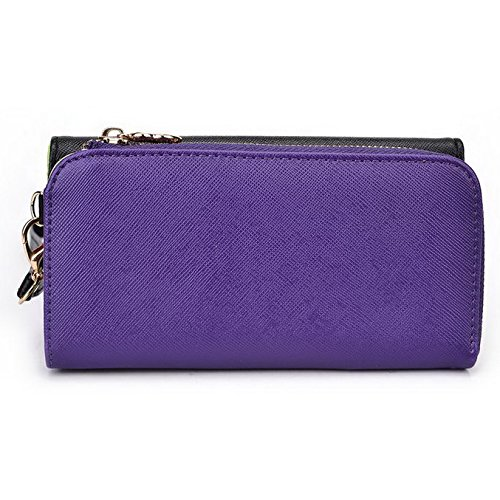Kroo d'embrayage portefeuille avec dragonne et sangle bandoulière pour LG G4Beat/Bello II Multicolore - Rouge/vert Multicolore - Black and Purple
