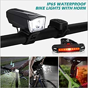 OMERIL Bike Light Set [Remote Switch], Rechargeable Bicycle Lights with 300LM Front Light, 120dB Bike Horn and 100LM Tail Light, IP65 Waterproof Dimmable Cycle Lights for Road & Mountain- Easy to Fit