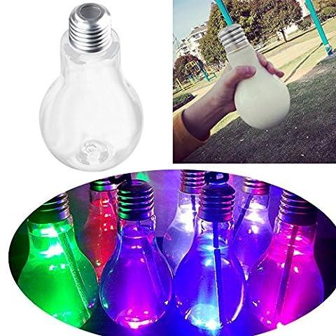 wuayi LED Glowing Bulb Water Bottle Cute Milk Juice Light Bulbs Cup Leak-proof (Silver)