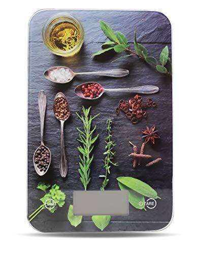Küchenwaage digital Electronische Design Waage mit LCD Display Digitalwaage mit Tara Funktion Einheiten Taste für g, kg,lb,oz, Farben wählbar bis 5 KG Aufhänger als Wanddeko Glasbild (Design Kräuter)