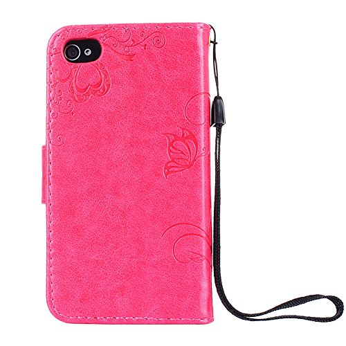 """MOONCASE iPhone 4/iPhone 4s Coque, [Embossed Pattern] PU Cuir Flip Portefeuille Housse pour iPhone 4/iPhone 4s 3.5"""" Durable Armure Anti-choc Protection Etui Case Lavande Hotpink"""