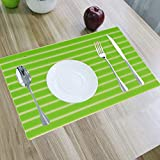 Kuber Industries Lining Design PVC 6 Piece Dining Table Place Mat Set - Green