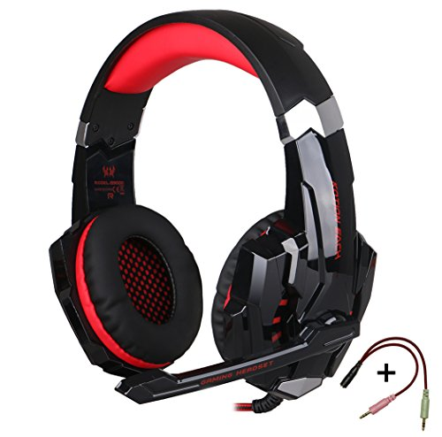 KOTION EACH G9000 -Auriculares de Diadema Cerrados con Micrófono Auricular Estéreo con Micrófono para PC, PS4, MAC y Móvil con Luz LED(negro+rojo)