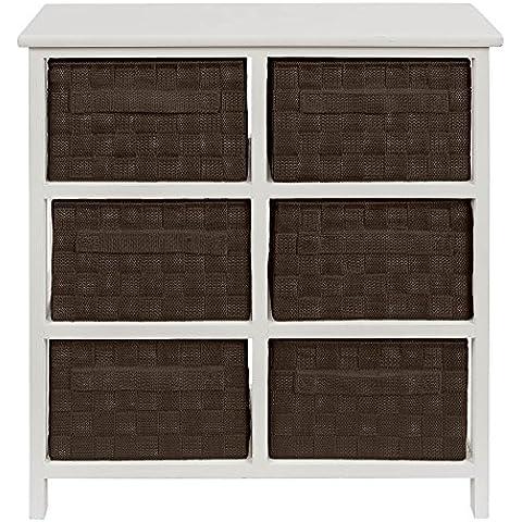 Mueble auxiliar 6 cajones 55x20x61 chocolate