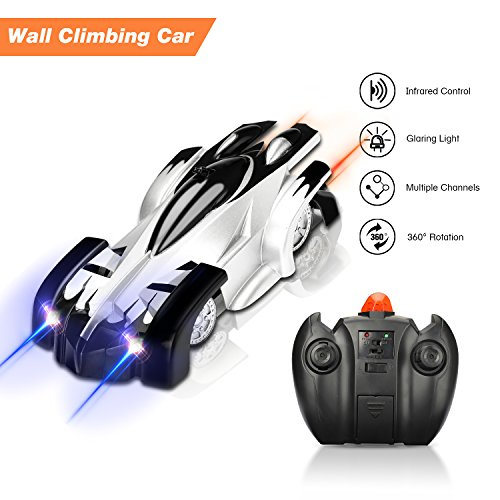 Cooljoy Wall Cilmbing Car, Coche Radio Control, Coche teledirigido Juguetes de Pared de Escalada, 360 Degree Rotating LED Lights, Coche con LED Luz