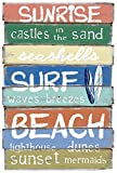 Enter-Deal-Berlin Holz WANDDEKO Schild - Surf Beach - 59 x 39 cm