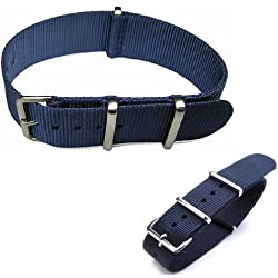 Nato Militray Watch Strap NAVY BLUE width 18mm, 20mm, 22mm length 11 inches with stainless steel buckle