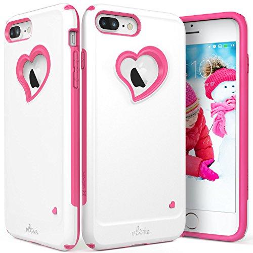 Vena custodia iphone 8 plus / 7 plus, [vlove][cuore-forma | doppio strato protezione] custodia ibrido paraurti per apple iphone 7 plus e 8 plus (5,5