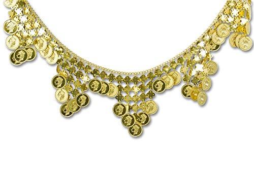 (Hüftkette aus Münzen in gold   Einheitsgröße Erwachsene   Münzkette für Bauchtanzkostüme)