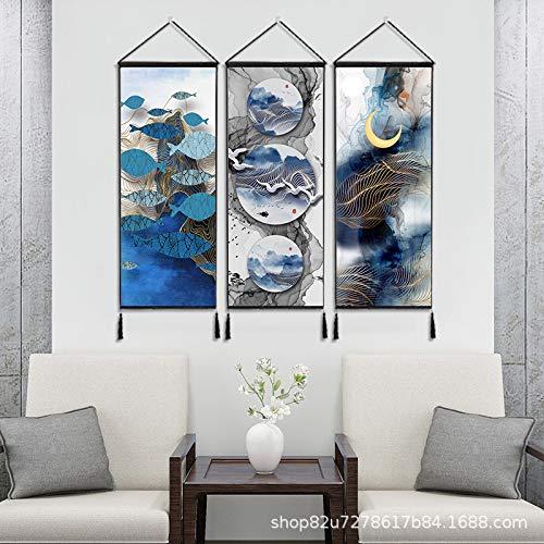Moderne kreative landschaftsbilder dekorative malerei B & B Schlafzimmer Wohnzimmer Veranda esszimmer quaste Baumwolle und leinen hängen Tuch K 120 * 45 cm * 3