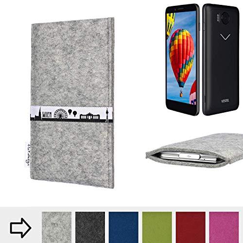 flat.design für Vestel V3 5030 Schutz Tasche Handyhülle Skyline mit Webband Wien - Maßanfertigung der Schutz Hülle Handytasche aus 100% Wollfilz (hellgrau) für Vestel V3 5030