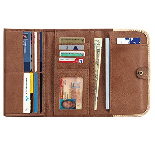 America nWest Ladies' Tri-Fold Wallet Golden Tan / Antique Brown