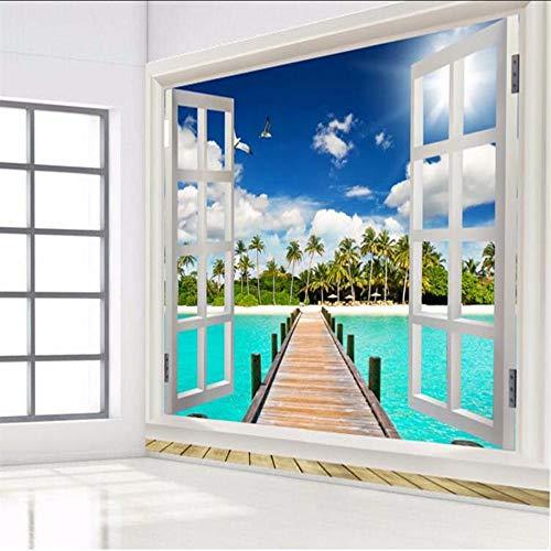Knncch Papel-Tapis Für Fotos Aus Der Vogelperspektive 3D Fondo Natural Playa Vista Océano Ventana Cielo Azul Nubes Pared Grande Mural Pintura-350X250Cm