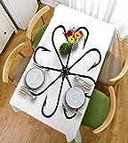 HAIXIA Tischdecken Angeln Decor Blume der Handwerker Stahl Multi Haken Gaff in Zeile Neue Nadel, Figur Schwarz Weiß, 55inch*82inch