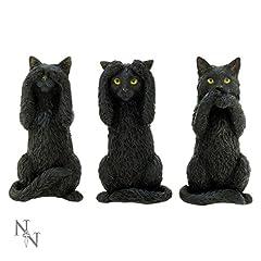 Idea Regalo - Tre gatti saggi, tre nero figurina nera - Fantasy - Nemesis Now