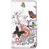 tinxi® Kunstleder Tasche für LG L90 Tasche Hülle Flipcase Schutzhülle Schale Etui Skin Standfunktion mit Karten Slot Rund und Schmetterling