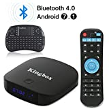 Kingbox - [2018 Última Edición] K1 PLUS Android 7.1 TV Box de 2GB RAM + 8GB ROM/ 4K/ Penta-Core/ H.265/ BT 4.0 con Mini Teclado Inalámbrico Smart TV Box.