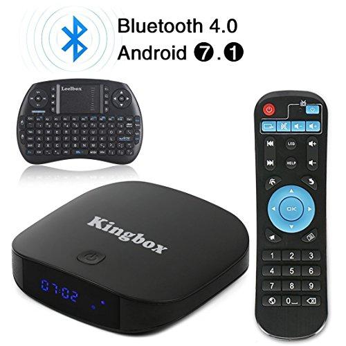 Kingbox - [2018 Última Edición] K1 PLUS Android 7.1 TV Box de 2GB RAM + 8GB ROM/ 4K/ Penta-Core/ H.265/ BT 4.0 con Mini Teclado Inalámbrico Smart TV Box.