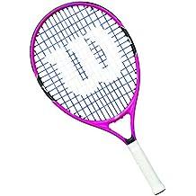 Wilson Raqueta de tenis para niños, Medida 9-10 años, Para juegos en todas las áreas, Burn 25, Rosa/Negro/Azul