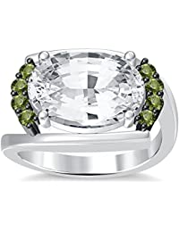Silvernshine 4Ct Oval & Round Cut Sim Peridot Diamonds 18K White Gold Plated Engagement Ring