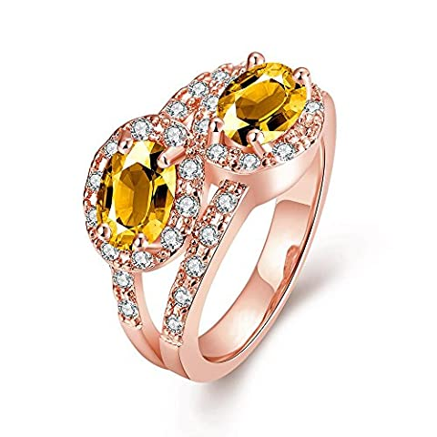 Thumby Oval Zircon Ring for Women,Rose Gold Plated,7