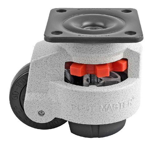 FOOTMASTER GD-100F Nylon Wheel and NBR Pad Leveling Caster, 1650 lbs, Top Plate 3 3/4 x 3 3/4, Bolt Holes 2 3/4 x 2 3/4, Ivory Finish by FOOTMASTER (Top Plate Bolt)
