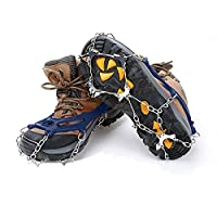 PULNDA Crampons- 10 Teeth Claws Non-slip Shoes Cover Stainless Steel Chain for Hiking Climbing and Outdoor. (BLUE)