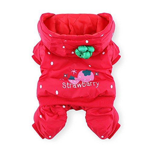 Preisvergleich Produktbild Moppi Haustier Hund Katze Strawberry starke warme Baumwollmantel Jumpsuit Kostüm Winter