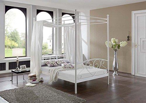 lifestyle4living Himmelbett in Weiß mit Matratze und Lattenrahmen | Metallbett hat 120x200 Liegefläche | Romantisches Bett in Schmiedeoptik