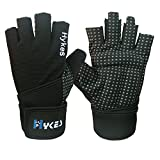 Gym Gloves With 15'' Wrist Support Wrap for Workout, Weight Lifting, and Crossfit