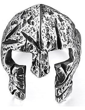 mendino Herren Edelstahl Viking Ring Spartan Maske Helm Griechischer Krieger???Knight Band Punk Silber Farbe mit...